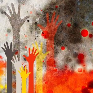 Crowdfunding | Painted hands on spraypaint background