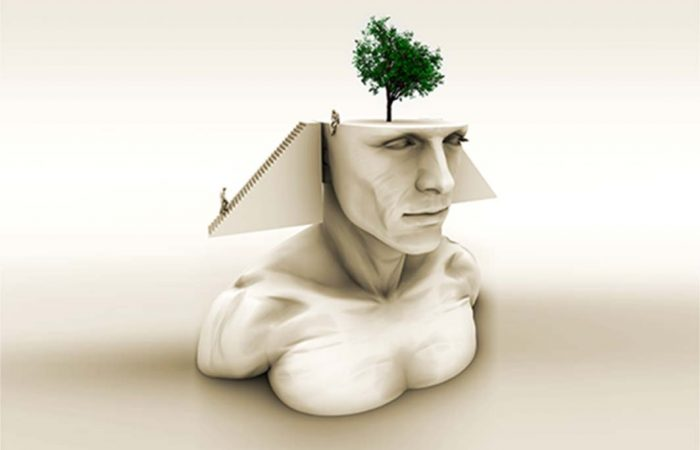 Brain Art - pharoah sphinx head with tree coming out of head