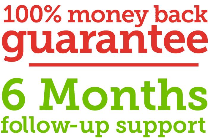 100% money back guarantee, 6 months follow-up support